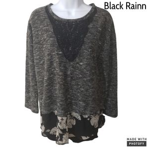 Black Rainn mixed media sweater black size medium